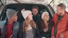 Friends taking a selfie in the open hatchback of a car Stock Footage