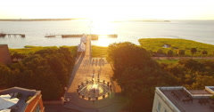 Aerial View of Waterfront Park Fountain and Pier in Charleston SC at Sunrise Stock Footage