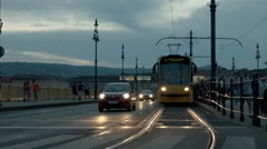 Tram coming towards the camera Stock Footage