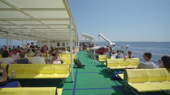 Cruising ferry open deck with passengers - Croatia Stock Footage