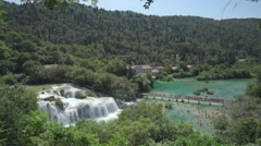 Krka waterfall panoramic view - Skradinski buk, Croatia Stock Footage
