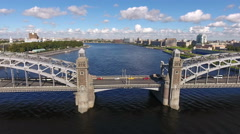 View at the central pylons of the Bolsheokhtinsky bridge across Neva river Stock Footage
