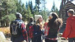 Excited friends hiking past a cabin in a forest, back view, shot on R3D Stock Footage