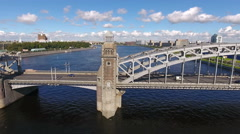 Three steel spans of the Bolsheokhtinsky Bridge. St. Petersburg, Russia Stock Footage