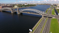 Panoramic view from above. The Neva river, Malaya Okhta district, St. Petersburg Stock Footage