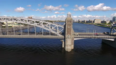 Side aerial view at the steel spans of the Bolsheokhtinsky bridge, Russia Stock Footage