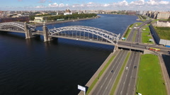 Malaya Okhta district with Malookhtinsky embankment and Bolsheokhtinsky bridge Stock Footage