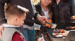 Family barbecuing on a deck in the forest, close up Stock Footage