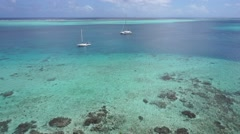 Aerial view lagoon Pacific ocean French Polynesia Stock Footage