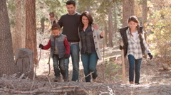 Hispanic family walking in a forest, close up front view Stock Footage