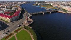 Flying from Birzhevoy Bridge (Exchange) and Rostral Columns. St. Petersburg Stock Footage
