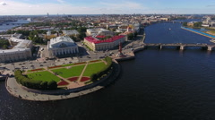 Aerial panoramic view at the Spit of Vasilyevsky island, St. Petersburg, Russia Stock Footage