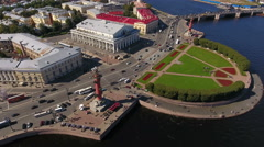 Spit of Vasilyevsky island with the Old Saint Petersburg stock exchange Stock Footage