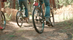 Friends cycling away from camera on a forest path, low angle Stock Footage