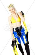 Standing young woman wearing neoprene with diving equipment Stock Photos