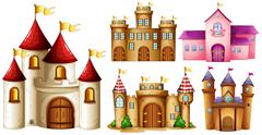 Five design of castle towers Stock Illustration