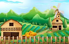 Farmland with barn and windmill Stock Illustration
