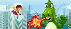 Superhero fighting green dragon in city Piirros
