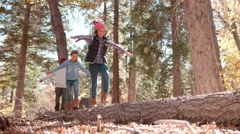 Three kids balancing on a fallen tree in a forest Stock Footage