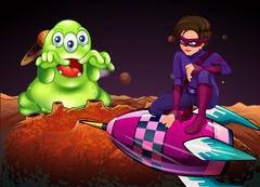 Superhero fighting alien on red planet Stock Illustration