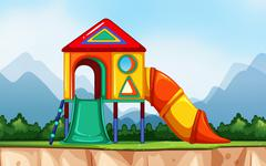 Scene with playground in the park Stock Illustration