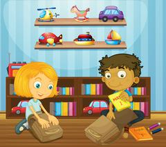 Boy and girl packing schoolbags Stock Illustration