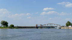 The IJssel river and the old IJsel bridge Stock Footage