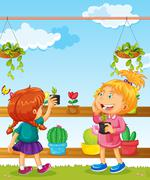 Two girls and many flower pots Stock Illustration