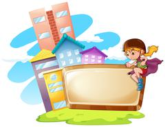 Border design with kid and buildings Stock Illustration