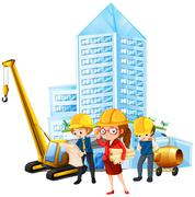 People working on construction site Stock Illustration