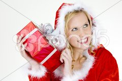 Santa Claus with Christmas present Stock Photos
