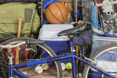 Vintage Pile of Worn Sports and Camping Equipment Stock Photos