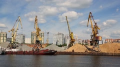 Port berths with cranes of the Moskva River in Moscow Stock Footage
