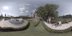 360 video fountain and tulips near Rijksmuseum in Amsterdam, Holland. Stock Footage