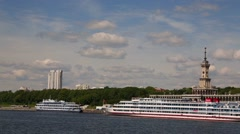 Passenger ship standing at the river station in Moscow Stock Footage
