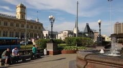 Leningrad railway station in Moscow Stock Footage