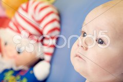 Portrait of baby with toy Stock Photos