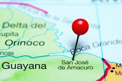 San Jose de Amacuro pinned on a map of Venezuela Kuvituskuvat