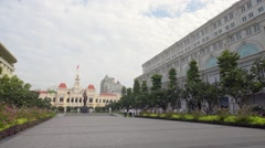 Saigon City Hall at morning time in Saigon City Stock Footage