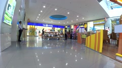 Modern indoor shopping mall stalls. tracking shot Stock Footage