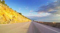 POV travel coastal scenery car vehicle drive road blue sky beautiful sunny Stock Footage