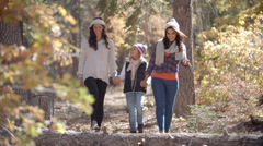 Female parents walk in a forest holding hands with daughter Stock Footage