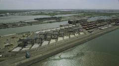 Aerial view of New York shipping port docks Stock Footage