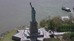 Helicopter aerial view of  Statue of Liberty, New York City State Stock Footage