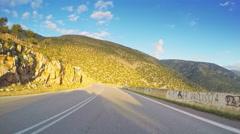 POV coastal landscape beautiful sunny weather car vehicle drive blue sky Stock Footage