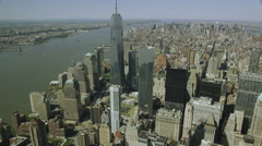Aerial zoom in view of the One World Trade Center Stock Footage