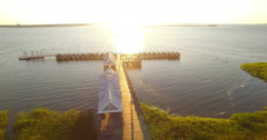 Aerial of Runner on Waterfront Park Pier in Charleston SC Stock Footage
