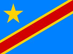 Flag of DR Congo in correct proportions and colors Stock Illustration
