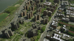 USA helicopter aerial view of New York City residential blocks Stock Footage