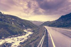 Road landscape in norwegian mountains Stock Photos